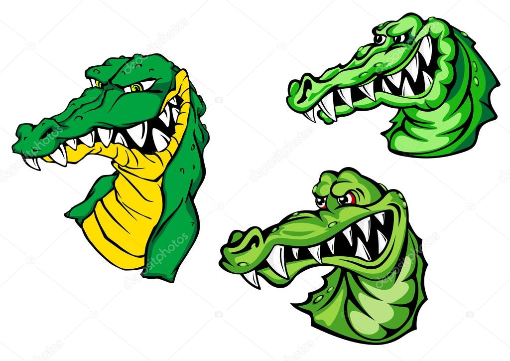 Crocodiles avec des personnages de dessins anim s de dents d nud es image vectorielle nihongo - Dessin anime crocodile ...