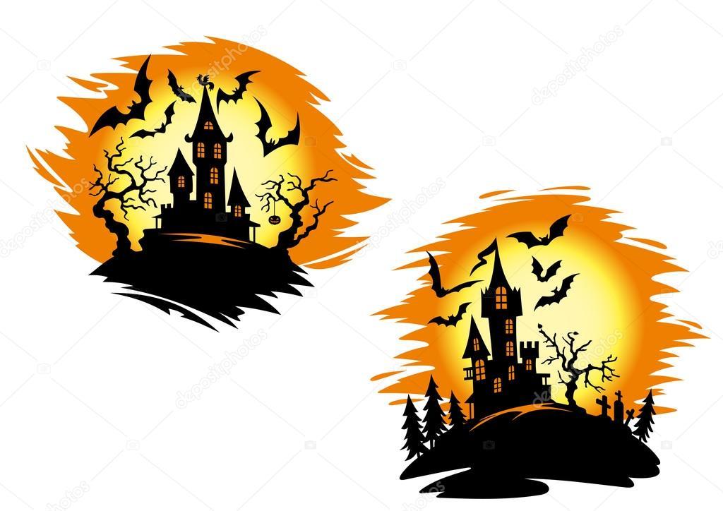 Halloween Zamki Na Karty Lub Zaproszenie Szablon Grafika Wektorowa