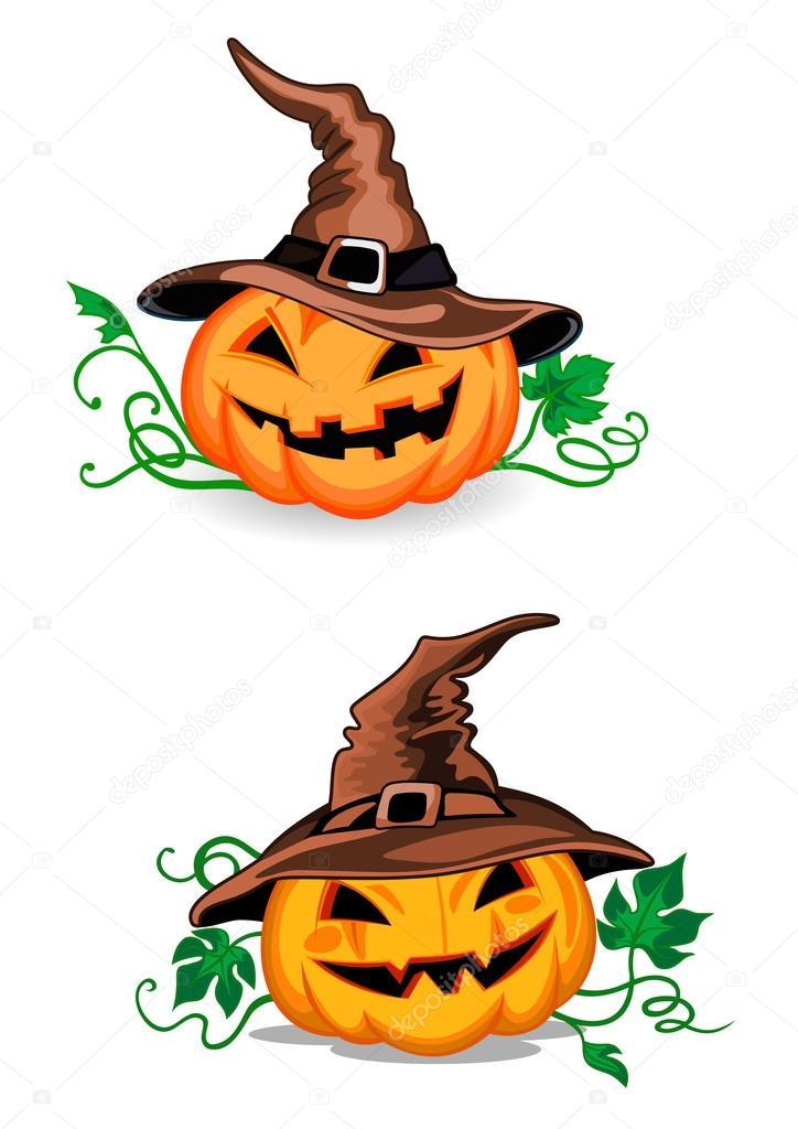 linternas de calabaza de dibujos animados con sombreros de bruja ...