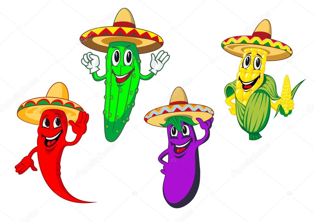 Verduras en personajes de dibujos animados de sombreros mexicanos — Vector  de stock 743d1c41e15