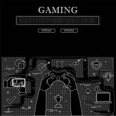 Line drawing of concept of gaming vector graphic in black and wh