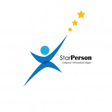 vector logo icon of person aiming for stars