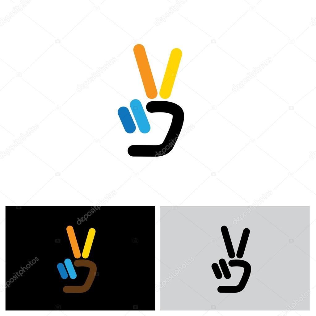 V Hand Victory Symbol Vector Logo Icon Stock Vector Smarnad