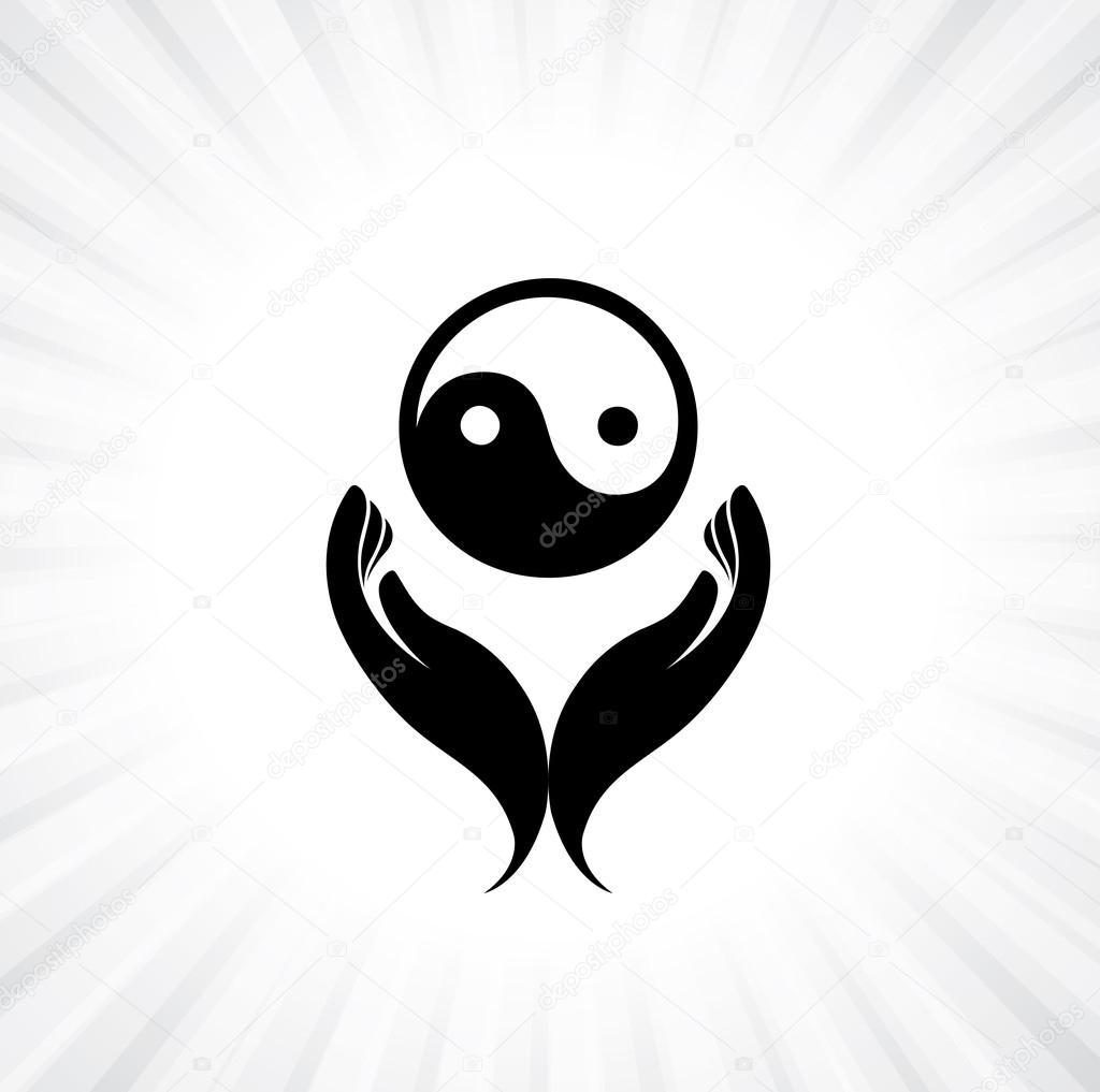 person praying with yin yang symbol in hand concept of a devou rh depositphotos com Vector Wings Cool Yin Yang