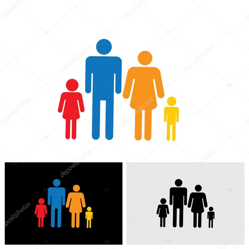 Family Of Four People Symbols Father Mother Son Daughter V