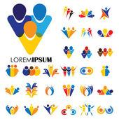 vector logo icon designs of people, children, friendship