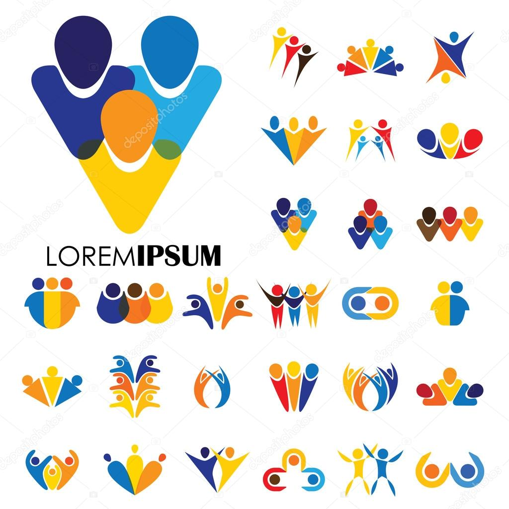 Disegni Di Icona Di Marchio Di Vettore Di Persone Bambini Amicizia