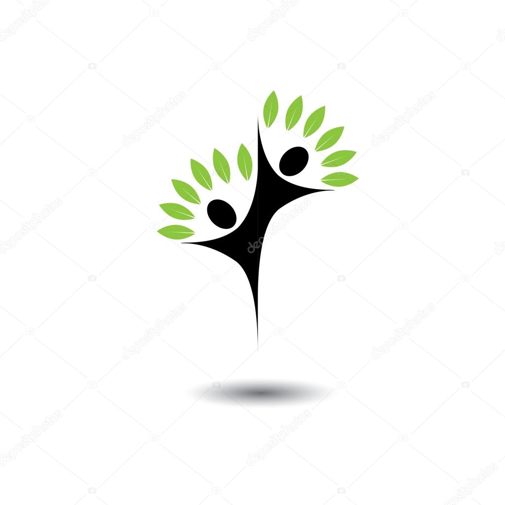 friends jumping in joy - life tree eco concept vector logo icon.
