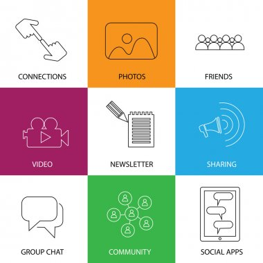 Social media icons of friends, community, videos & photos - conc