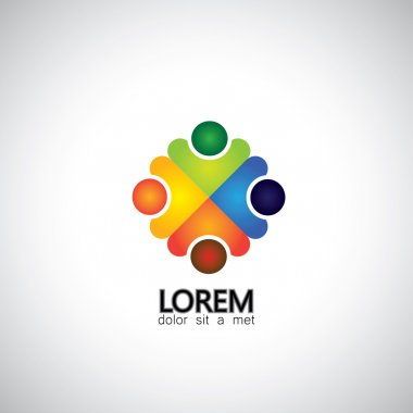 Colorful vector design of people symbols working as team & coope