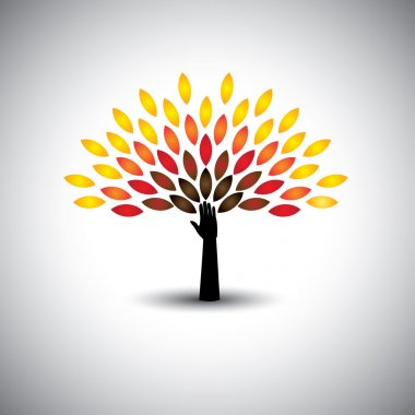 colorful people tree and hand - eco lifestyle concept vector