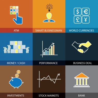 flat line icons on finance, money, currencies - concept vector.