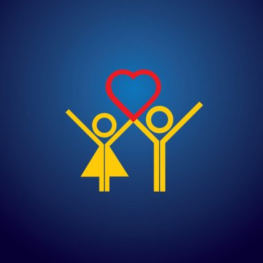 vector icon of boy & girl couple making love on valentines day.