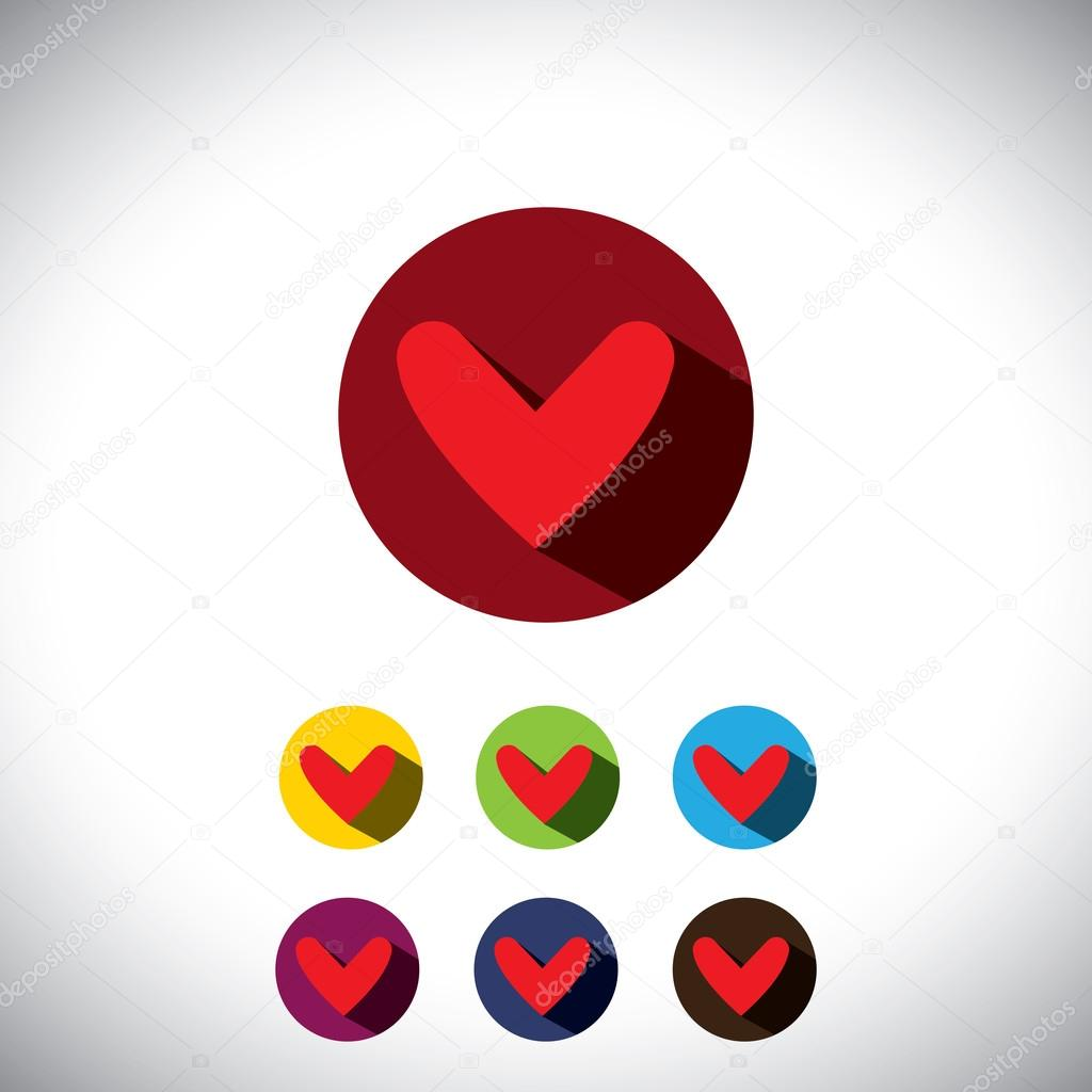 human heart flat design icons or symbols for love - simple vecto