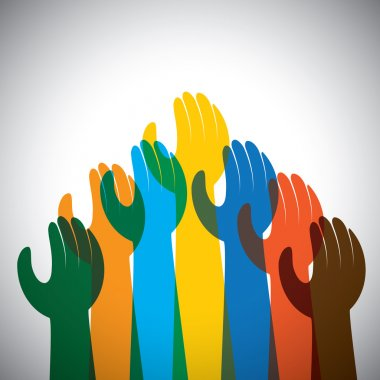 vector icon of many hands in the air - concept of unity, support