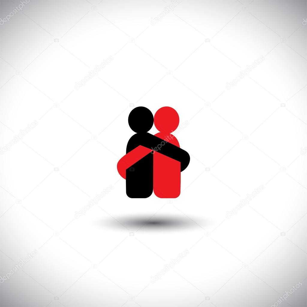 lovers hug each other in deep love & romantic mood - vector icon
