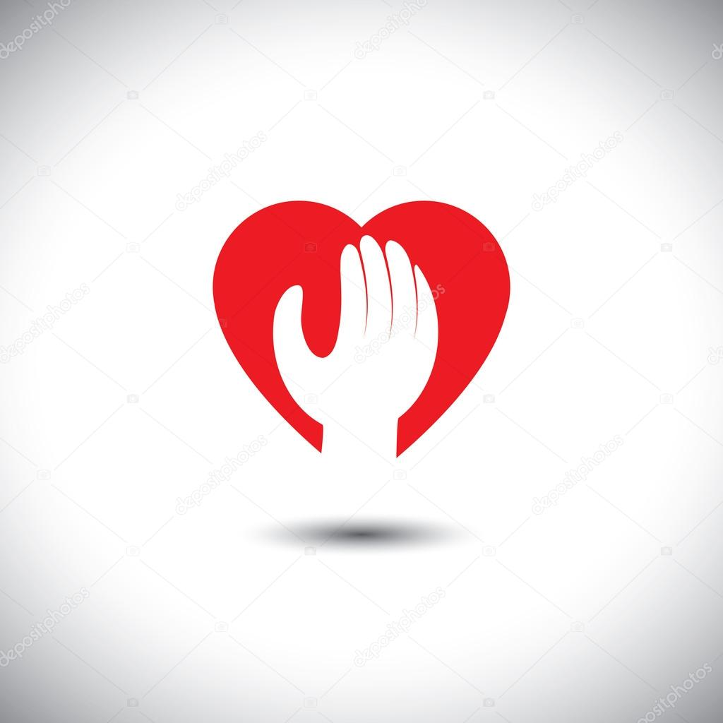 Hand and heart together vector icon for trust faith stock hand and heart together vector icon for trust faith stock vector biocorpaavc Choice Image