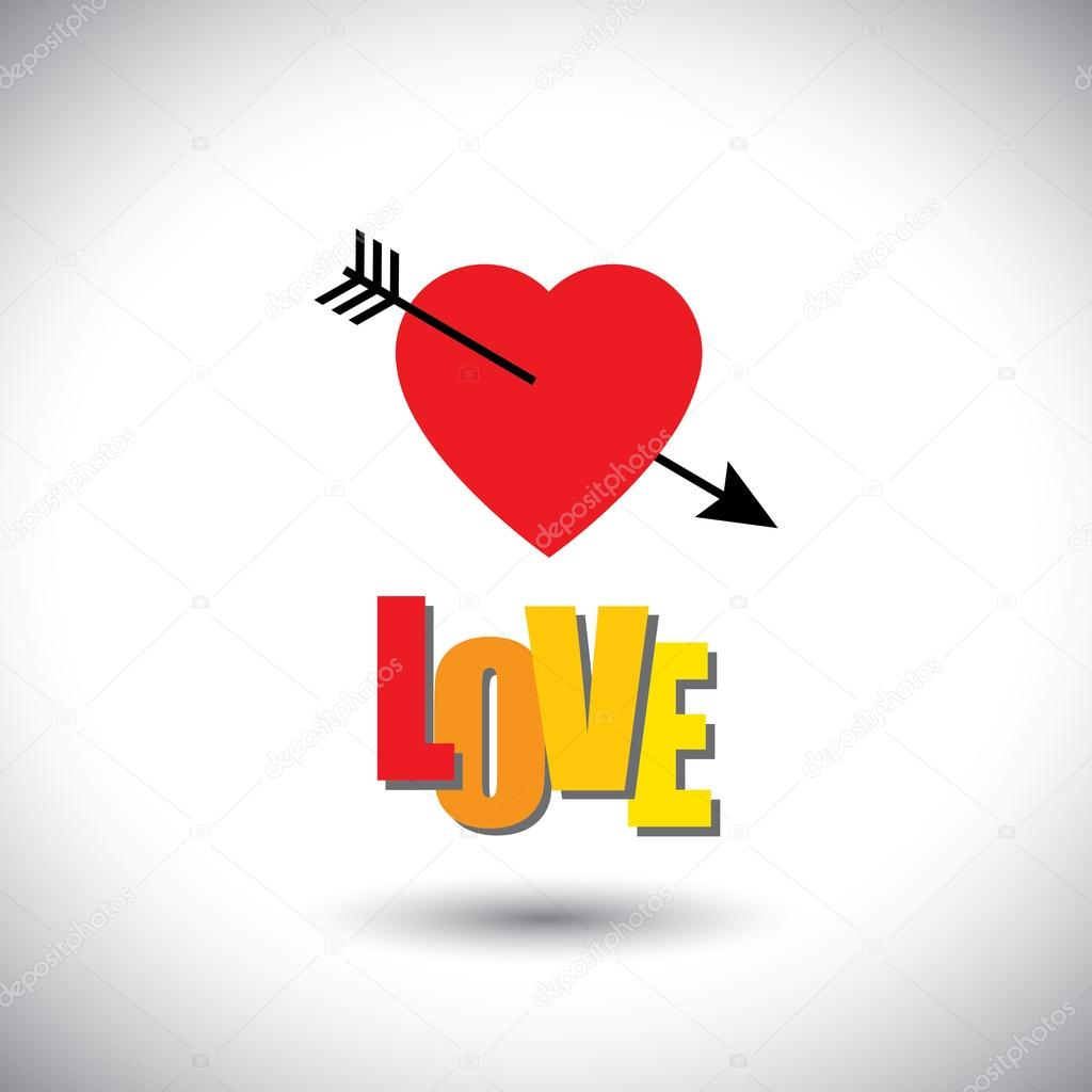 Human Heart Icon And Love Words And Arrow Simple Vector Graphic This Has The Love Icon With Love Word Inset Inside The Shape Can Be Useful For Websites
