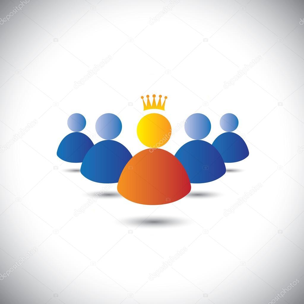 leader with crown & leadership, team & teamwork concept vector i