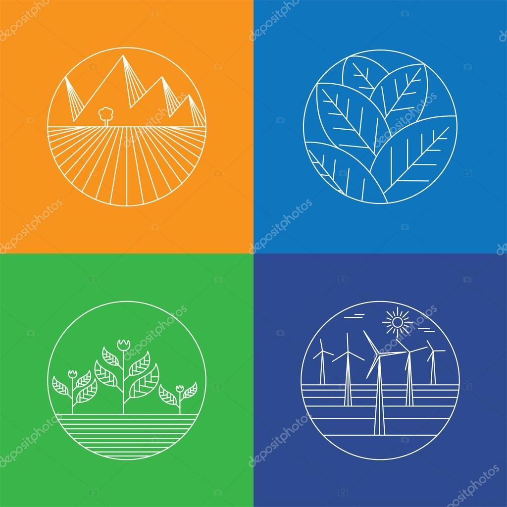 paisaje y naturaleza vector icons - plantillas de logotipo abstracto ...