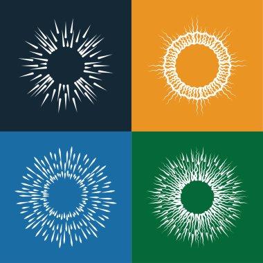 sun bursts vector icons set of vintage hand drawn like sunbursts