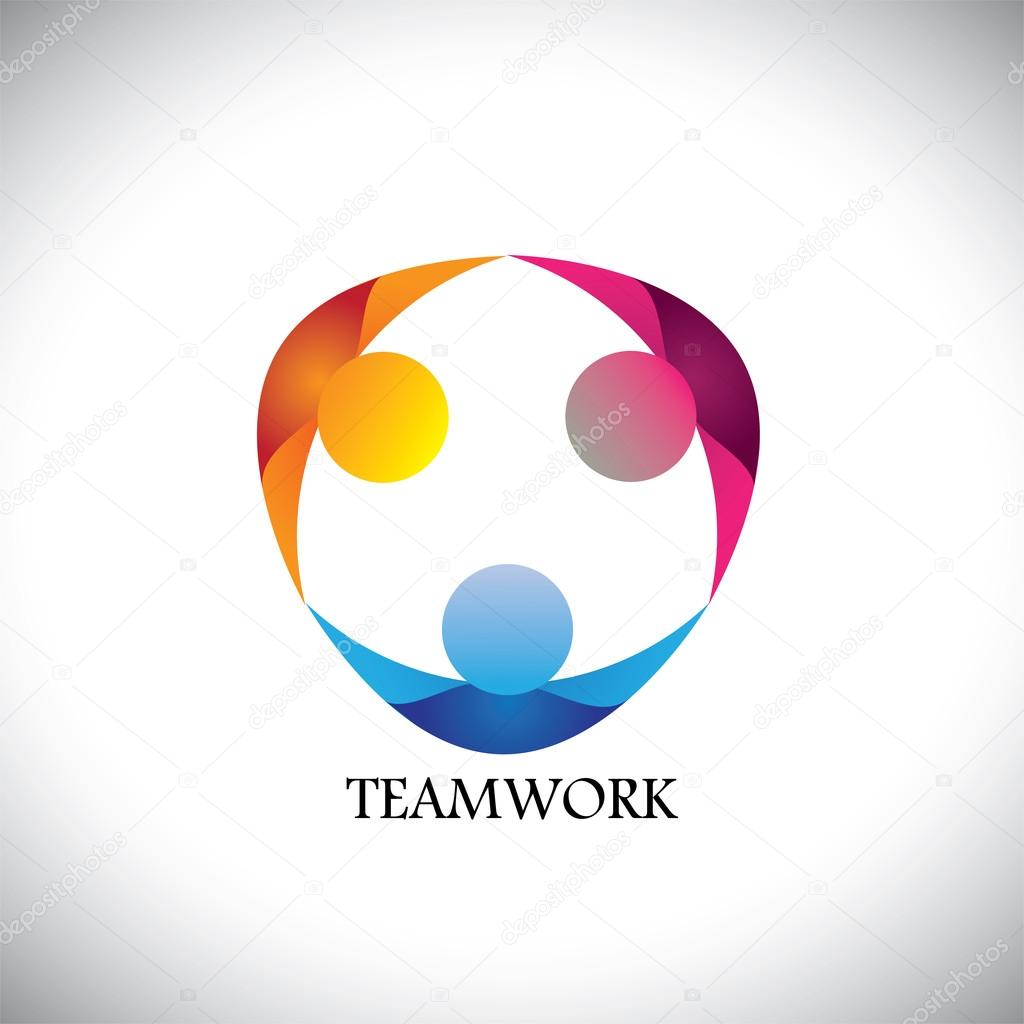 Abstract people team & teamwork - vector logo icon — Stock ...