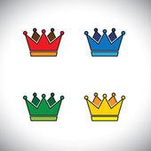 lesklé zlaté koruny koncept loga vektorové ikony