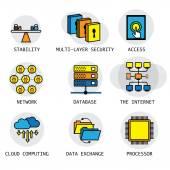 Fotografie Vektor-Liniendesign über das Internet, Computer-Netzwerk  technolog