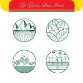 Fotografia Icone di vettore di paesaggio  natura - modelli logo astratto  linea