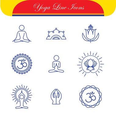 vector yoga icons & round line badges - graphic design elements