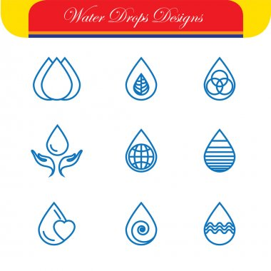 set of water drops & nature vector - abstract logo templates & l