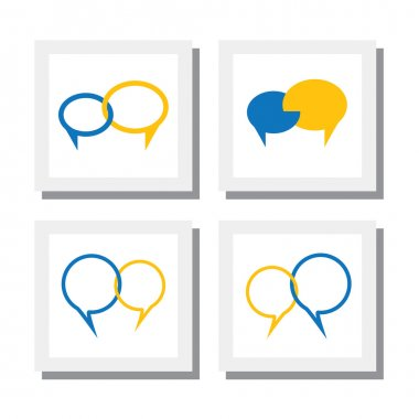 set of chat signs or talk symbol or speech bubble vector icons