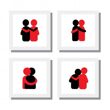 Set of logo designs of friends hugging each other - vector icons