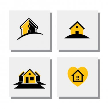 Set of logo house or home designs - vector icons. this also represents concepts of small residential units, apartments, real estate units, property for sale, lease or rent stock vector