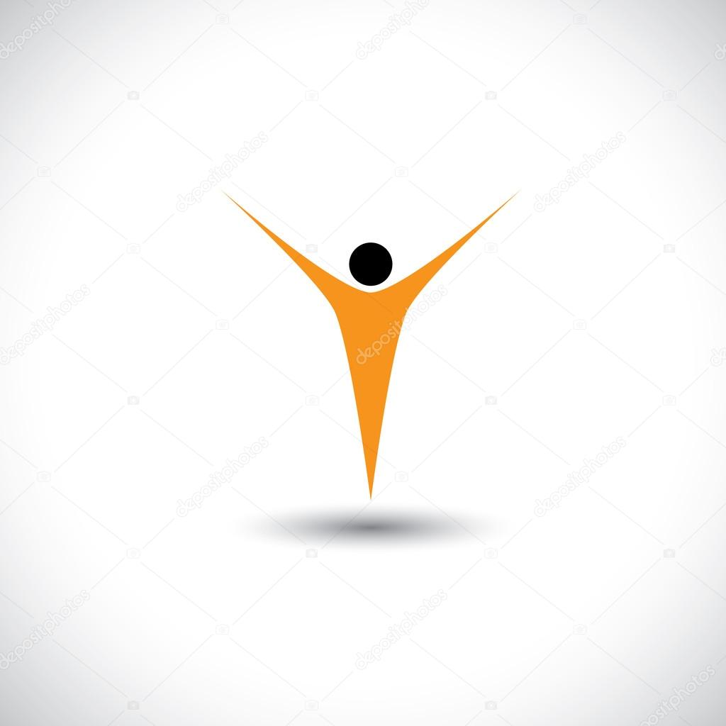 icon for activity like dance, fly - concept vector graphic.