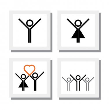 set of excited, spirited girl boy in love vector icons