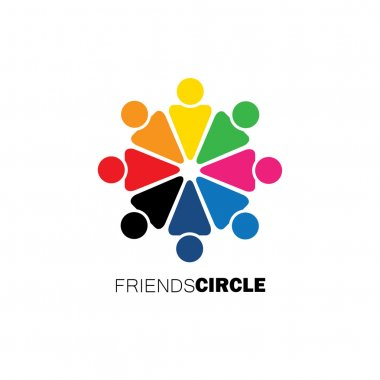 people in circle, community or team of kids, employees vector ic