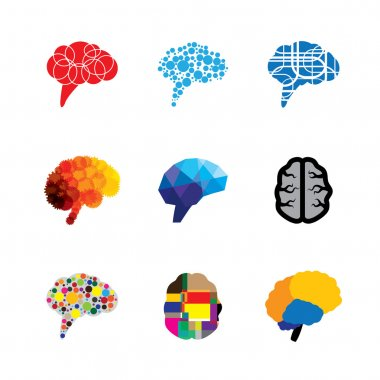 concept vector logo icons of brain and mind