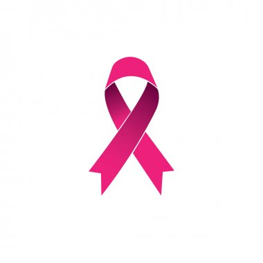 pink ribbon, breast cancer awareness vector icon isolated on whi