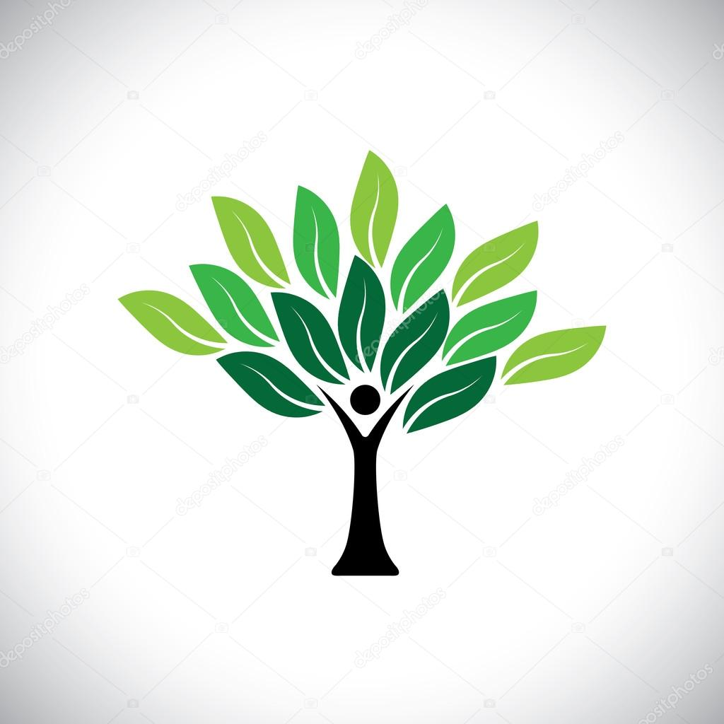 people tree icon with colorful leaves - eco concept vector — Stock ...