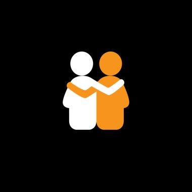 friends hug each other, deep relationship & bonding - vector ico