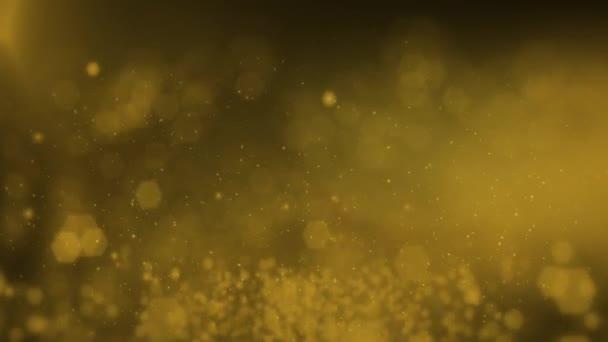 Animované vánoční pozadí se zlatými zářivými hvězdami. Pozadí pro vánoční dovolenou