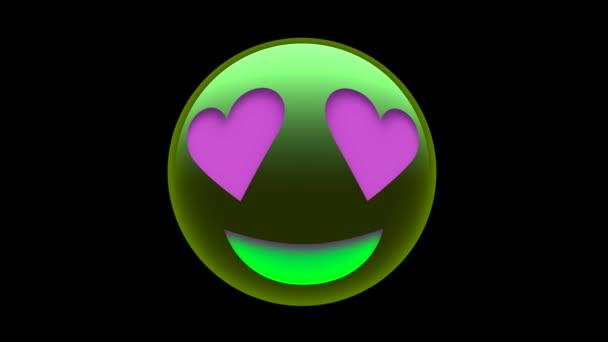 Purple Heart Eyes Face emoji ikona izolované na černém pozadí pro sociální média, aplikace a logo.