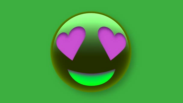 Purple Heart Eyes Face emoji icon isolated on green screen for social media, app and logo