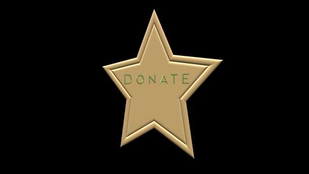 Arany csillag gomb DONÁCIÓ. Adományoz ikon fekete háttér