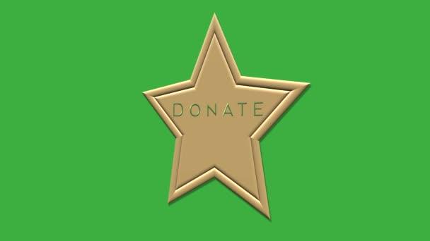 Arany csillag gomb DONÁCIÓ. Adományoz ikon a zöld képernyőn.