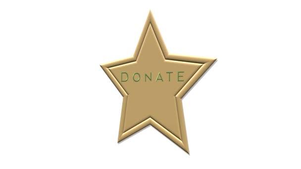Arany csillag gomb DONÁCIÓ. Adományoz ikon fehér háttér