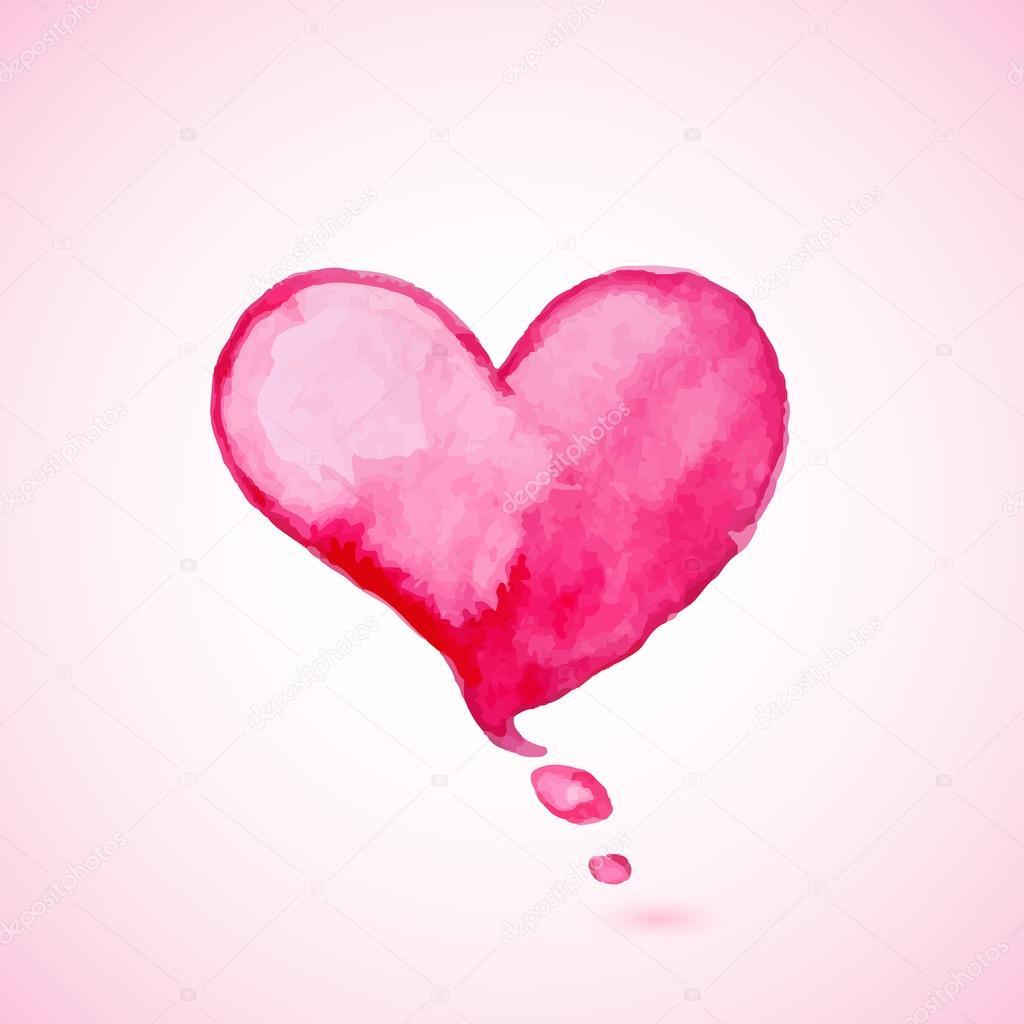 Kırmızı Sulu Boya Kalp Stok Vektör Artness 61613503