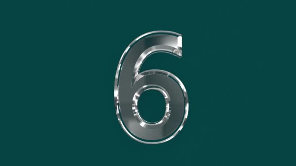White shining glassy font or alphabet with moving reflection for words composing in your videos - number 6 isolated on green background, 60FPS 4K UHD 3D animation