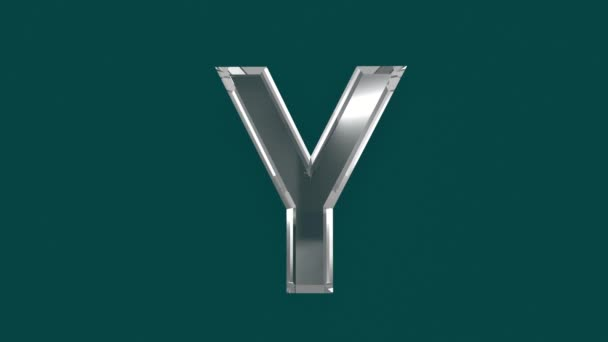 White shining glassy font or alphabet with moving reflection for words composing in your videos - letter Y isolated on green background, 60FPS 4K UHD 3D animation
